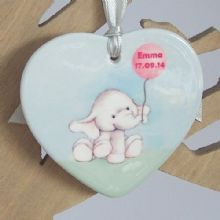 Elephant Ceramic Heart - Personalised Christmas Tree Decoration